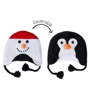 Kids UPF50+ Winter Hat - Snowman/Penguin Small