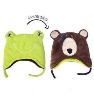 Kids UPF50+ Winter Hat - Frog/Bear Small