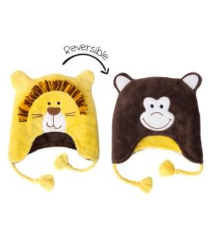 Kids UPF50+ Winter Hat - Lion/Monkey Small