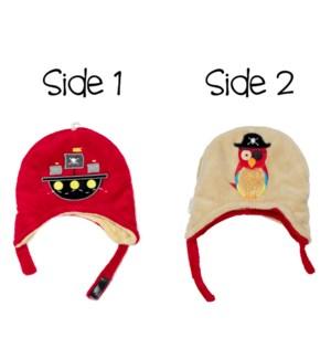 Kids UPF50+ Winter Hat - Pirate Ship/Parrot Small