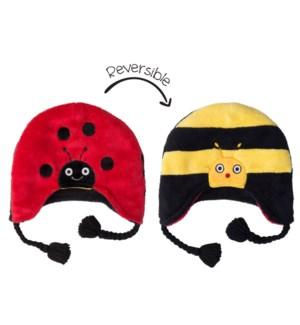 Kids UPF50+ Winter Hat - Ladybug/Bumble Bee Small