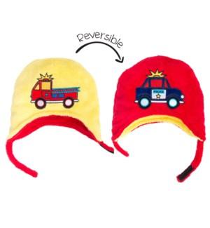 Kids UPF50+ Winter Hat - FireTruck/Police Small