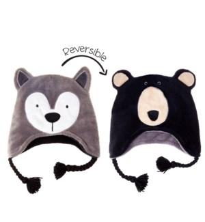 Kids UPF50+ Winter Hat - Wolf/Black Bear Small