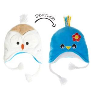 Kids UPF50+ Winter Hat - Bluebird/Snowy Owl Small