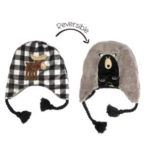 Kids UPF50+ Winter Hat - BlkMoose/BlackBear Small