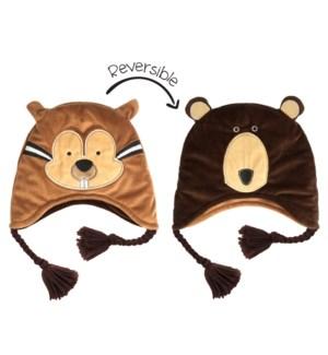 Kids UPF50+ Winter Hat - Chipmunk/Brown Bear Small