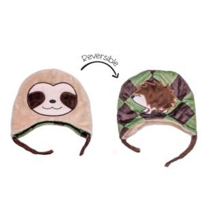 Kids UPF50+ Winter Hat - Sloth/Hedgehog Small