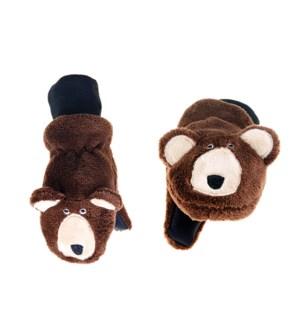 Kids UPF50+ Winter Mitts - Brown Bear 3-6Y