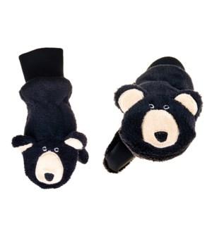 Kids UPF50+ Winter Mitts - Black Bear 3-6Y