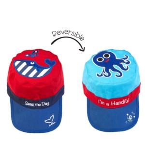Reversible UPF50+ Cap - Whale/Octopus