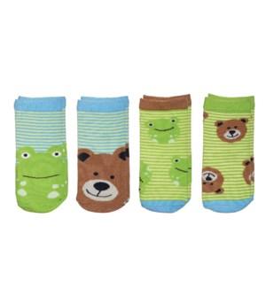 Kids Safari Socks - Bear/Frog Small