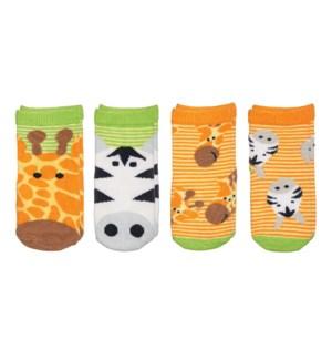 Kids Safari Socks - Boy Giraffe/Zebra Small