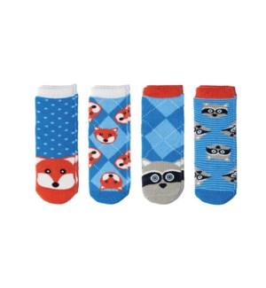 Kids Cabin Socks - Racoon/Fox Small