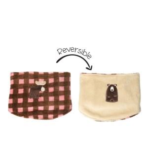 UPF50+ Neck Warmer - Pink Moose/Brown Bear 3-8Y