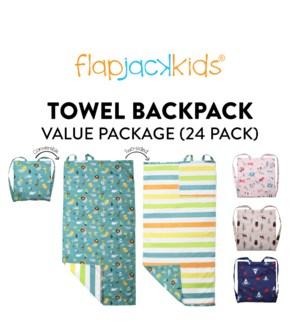 Towel Backpack Package - 24 pack