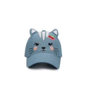 Kids' UPF50+ 3D Cap - Cat - Denim - Large