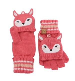 Knitted Fingerless Gloves w/Flap - Deer 2-4Y