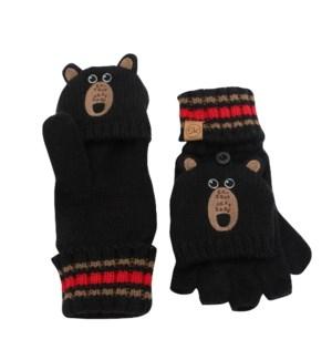 Knitted Fingerless Gloves w/Flap - Black Bear 2-4Y