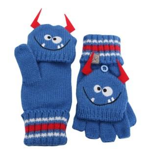Knitted Fingerless Gloves w/Flap - Monster 2-4Y