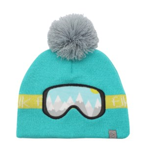 Knitted Toque Ski Goggles Turquoise Med/Lrg