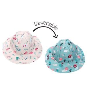 Kids UPF50+ Patterned Sun Hat - Pink Zoo X-Small