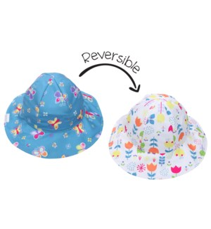 Kids UPF50+ Patterned Sun Hat - Butterfly/Floral X-Small