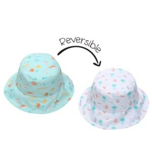 Kids UPF50+ Patterned Sun Hat - Fish/Jellyfish X-Small