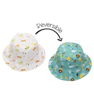Kids UPF50+ Patterned Sun Hat - Grey Zoo X-Small
