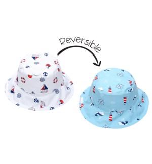 Kids UPF50+ Patterned Sun Hat - Nautical X-Small