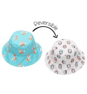 Kids UPF50+ Patterned Sun Hat - Fox/Hedgehog X-Small