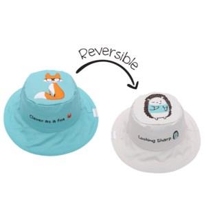 Kids UPF50+ Sun Hat - Fox/Hedgehog Small