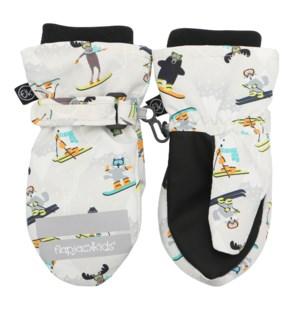 Water Repellent Ski Mittens - Ski Resort Grey 0-2Y