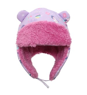 Water Repellent Trapper Hat Unicorn - Lilac 6-24M
