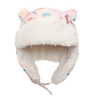 Water Repellent Trapper Hat - Floral Pink 6-24M