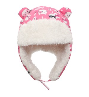 Water Repellent Trapper Hat - Cat Pink 6-24M