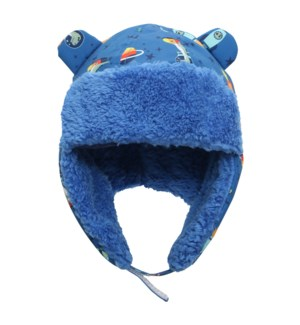 Water Repellent Trapper Hat - Dino Blue 6-24M