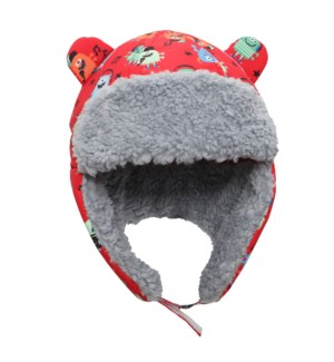 Water Repellent Trapper Hat - Monsters Red 6-24M