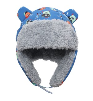 Water Repellent Trapper Hat - Monsters Blue 6-24M