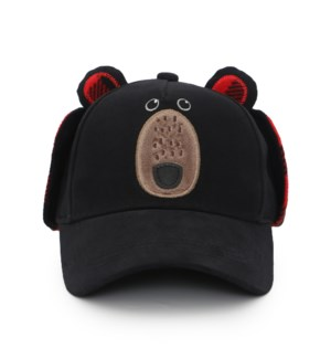 3D Caps with Earflaps - Black Bear 2-4Y
