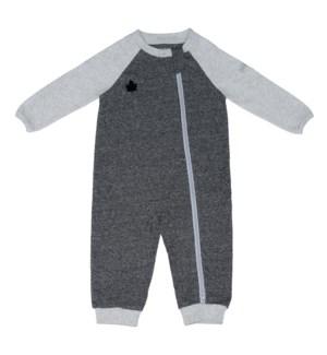 Raglan Organic Playsuit- Graphite Black Newborn