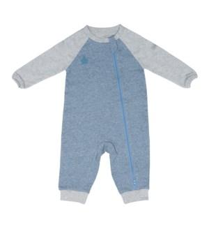 Raglan Organic Playsuit- Denim Blue Newborn
