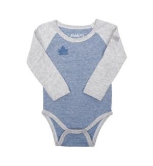 Organic Raglan - Long Sleeve Body Tee - Denim Blue Newborn