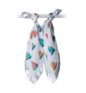 Cotton Security Blankets - Sailboat One Size
