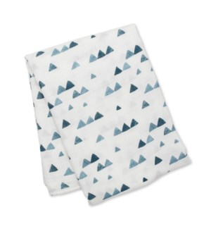 Bamboo Muslin Swaddle - Navy Triangles