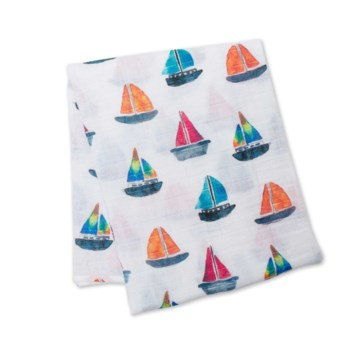 Cotton Muslin Swaddle - Sailboat One Size