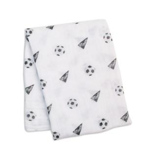 Cotton Muslin Swaddle Blanket -Soccer