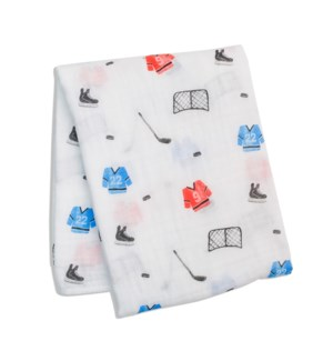 Cotton Muslin Swaddle Blanket -Hockey