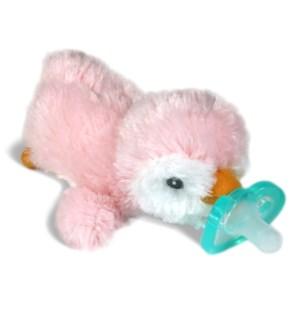 RazBuddy Paci Holder JollyPop Pink Penguin