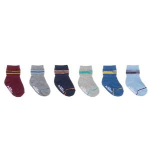 F21 - 6 Pack Infant Socks - Varsity Stripes - 0-6M 0-6M