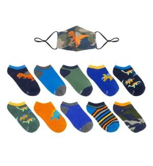 F21 - 10 Pack Socks w/ Gift - Camo Dinos - 5-6.5 5-6.5